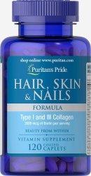 Hair, Skin & Nails Formula Puritan's Pride, Włosy Skóra Paznokcie