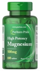 Magnez 500 mg, Puritan's Pride, 100 tabletek