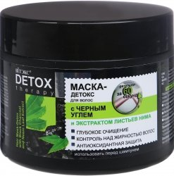 Maska z Czarnym Węglem do Włosów Przetłuszczających się, Detox Therapy