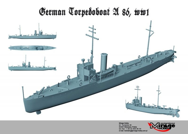 Mirage 350505 1/350 A86 Niemiecki Torpedowiec typu A/III/56/1916