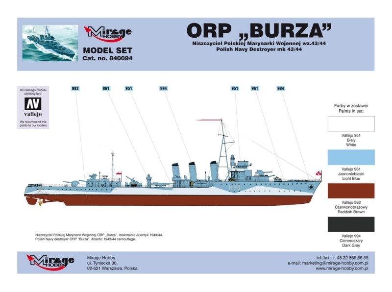Mirage 840094 1/400 [MODEL SET]  ORP 'BURZA' – wz.44 [Polski Niszczyciel II WŚ]