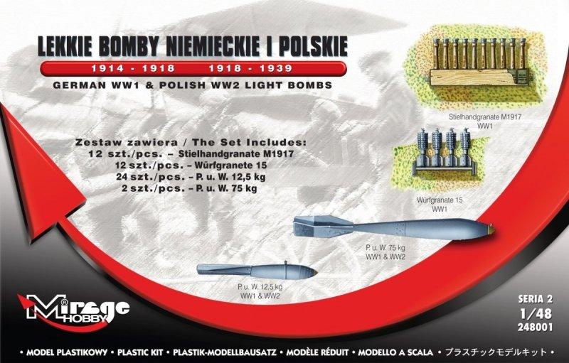 Mirage 248001 1/48 Lekkie Bomby Niemieckie i Polskie 1914-1918 / 1918-1939