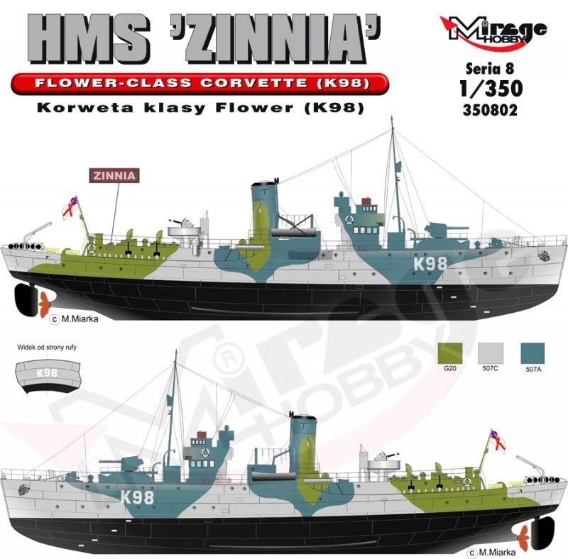 Mirage 350802 1/350 HMS 'Zinnia' - Korweta klasy Flower (K98)