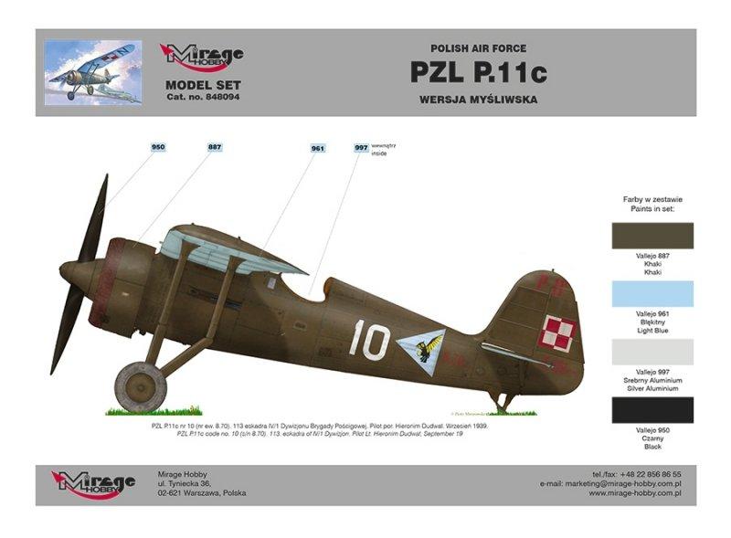 Mirage 848094 1/48 [Model Set] PZL P.11c Polski samolot myśliwski z II wś