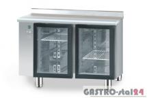 Stół chłodniczy z drzwiami przeszklonymi bez agregatu z płyta wierzchnia nierdzewną DM 90005 1125x700x850