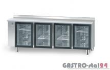 Stół chłodniczy z drzwiami przeszklonymi bez agregatu z płytą wierzchnią nierdzewną DM 90008 2125x600x850
