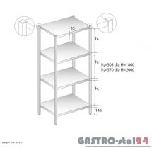 Regał magazynowy z półkami pełnymi DM 3319 szerokość: 500 mm, wysokość: 1800 mm  (600x500x1800)