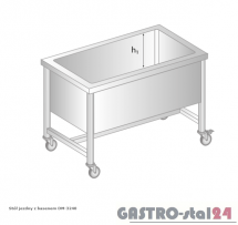 Stół jezdny z basenem DM 3240 szerokość: 700 mm, głębokość: 400 mm (800x700x850)