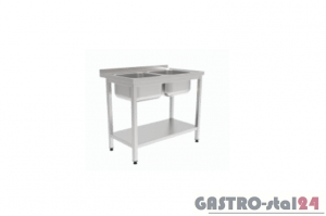 Stół z dwoma zlewami i półką GT 3212 1000x600x850mm