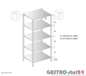 Regał magazynowy DM 3320 szerokość: 700 mm, wysokość: 1800 mm  (600x700x1800)