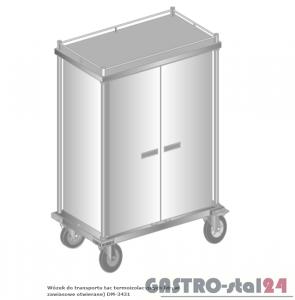 Wózek do transportu tac termoizolacyjnych (drzwi zawiasowe otwierane) do transportu wewnętrznego DM 3431 1080x630x1630 W - 20 tac