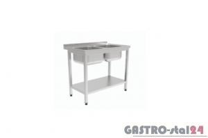 Stół z dwoma zlewami i półką GT 3212 1000x700x850mm