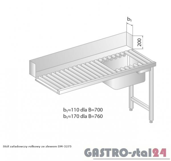 Stół załadowczy rolkowy ze zlewem DM 3275 szerokość: 760 mm (1000x760x850)