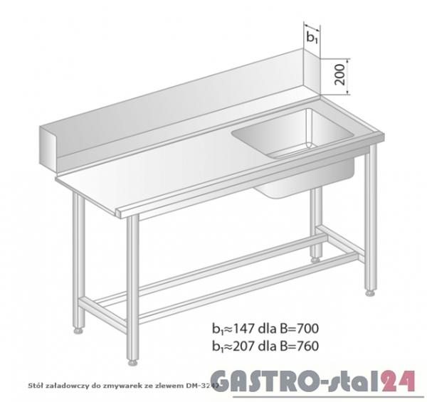 Stół załadowczy do zmywarek ze zlewem DM 3247 szerokość: 760 mm (1000x760x850)