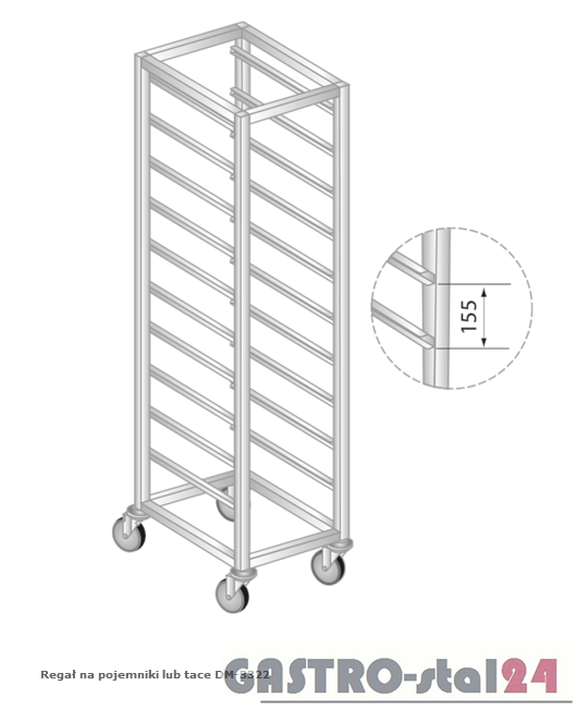Regał na pojemniki lub tace na stópkach DM 3322/S  szerokość: 660 mm, wysokość: 1800 mm  (600x660x1800)