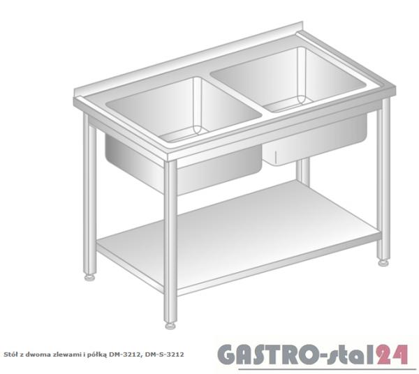 Stół z dwoma zlewami i półką DM 3212 szerokość: 600 mm (1000x600x850)