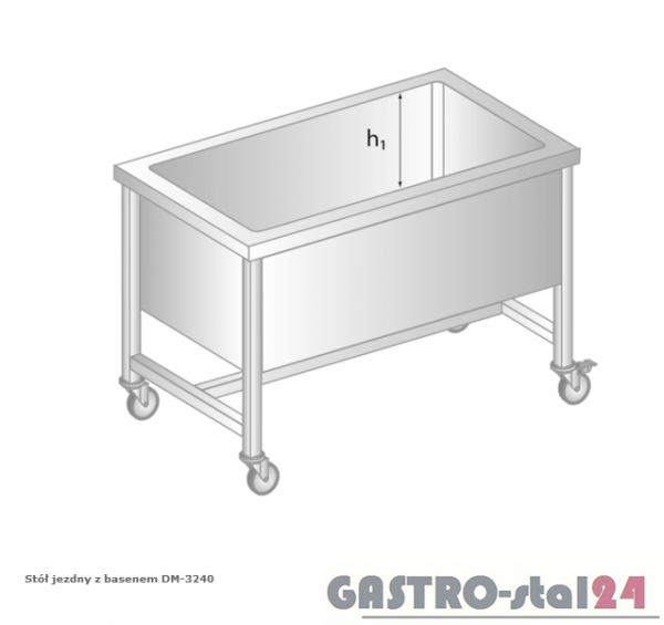 Stół jezdny z basenem DM 3240 szerokość: 600 mm, głębokość: 300 mm (800x600x850)