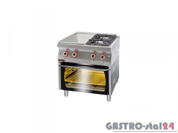Kuchnia gazowa z płytą grzewczą z piekarnikiem gazowym 700.KG-2/I-400/PG-2, 800x700x900