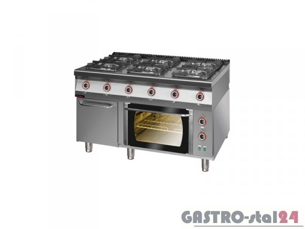 Kuchnia gazowa z piekarnikiem elektrycznym termoobieg 900.KG-6/PE-1T/SD, 1350x900x900