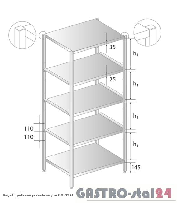 Regał z półkami przestawnymi DM 3321 szerokość: 400 mm, wysokość: 2000 mm  (600x400x2000)
