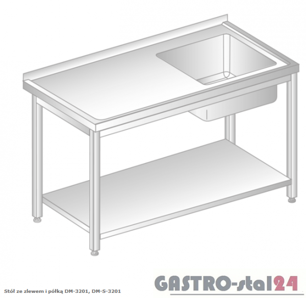 Stół ze zlewem i półką DM 3201 szerokość: 600 mm  (600x600x850)