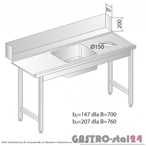 Stół załadowczy do zmywarek ze zlewem i otworem na odpadki DM 3257 szerokość: 760 mm (1200x760x850)
