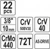 Zestaw narzędziowy 3/8 cala 22 szt Yato YT-38561