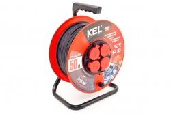 Przedłużacz bębnowy warsztatowy KEL PB-PRO/D/50M/3X2.5/H05RR-F/CZARNY 50m W-97924