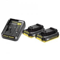 Zestaw zasilający ładowarka + 2x akumulatory 2.0Ah 18V Stanley FMC693D2