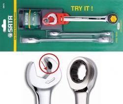 Zestaw 3 kluczy płasko-oczkowych z podwójną grzechotką SATA S09075