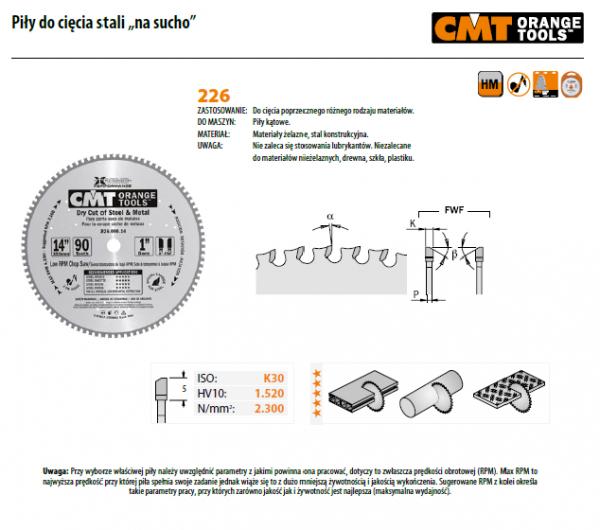 Piła tarczowa do cięcia stali CMT 226.080.12M Piła 305x2.2x30 Z=80 K=2,2/1,8
