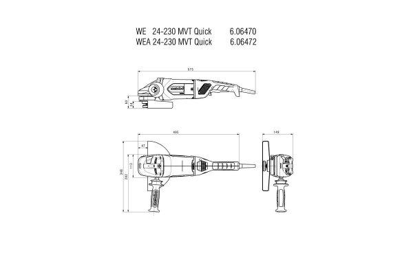 Metabo Szlifierka kątowa WEA 24-230 MVT Quick, 2400 W z autobalanserem