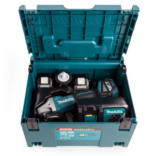Akumulatorowa szlifierka kątowa z regulacją obrotów Makita DGA513RTJ 125mm 18V Li-Ion 2x5.0Ah