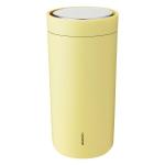 Stelton TO GO CLICK Stalowy Kubek Termiczny 400 ml Żółty Soft Yellow