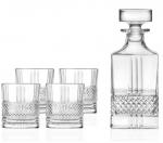Lyngby Glass BRILLANTE Karafka + Kryształowe Szklanki do Whisky, Drinków 340 ml 4 Szt.