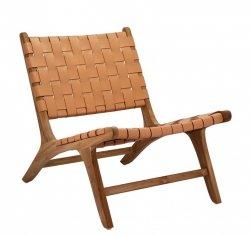 Villa Collection LOUNGE Fotel z Drewna Tekowego z Siedziskiem z Plecionej Skóry