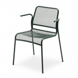 Skagerak MIRA Krzesło Ogrodowe z Podłokietnikiem - Ciemnozielone