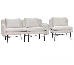 Hübsch SOFT Sofa Modułowa 3 El. Jasnoszara