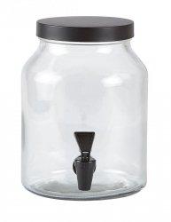 KJ Collection GLASS Słój z Krajnikiem do Lemoniady 3,5 l - Czarny