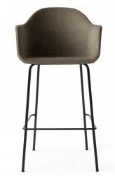 Menu HARBOUR Krzesło Barowe 112 cm Hoker Czarny - Siedzisko Tapicerowane Szarobeżowe
