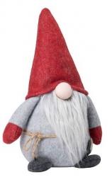 Sodahl CHRISTMAS Świąteczny Elf Dekoracyjny 21 cm Szaro-Czerwony