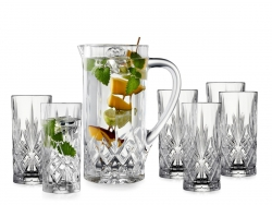 Lyngby Glass MELODIA Dzbanek + Kryształowe Szklanki 360 ml 6 Szt.