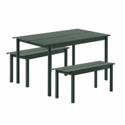 Muuto LINEAR Zestaw Mebli Ogrodowych - Stół 140 cm + 2 Ławki - Ciemnozielony