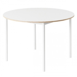 Muuto BASE Stół Okrągły 110 cm Biały - Blat Linoleum