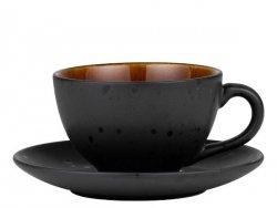 Bitz BLACK Filiżanka ze Spodkiem 240 ml 6 Szt. Czarna / Środek Amber