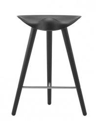by Lassen ML42 Krzesło Barowe -- Hoker 69 cm Czarny / Poprzeczka Srebrna
