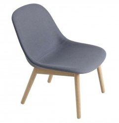 Muuto FIBER LOUNGE Fotel Tapicerowany - Niebieskoszary Tkanina Divina 154 / Rama Drewniana
