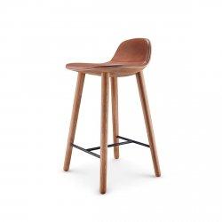 Eva Solo ABALONE Hoker - Krzesło Barowe 65 cm - Siedzisko Brązowa Skóra / Rama Naturalny Dąb
