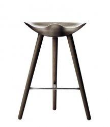 by Lassen ML42 Krzesło Barowe -- Hoker 69 cm Dąb Ciemnobrązowy / Poprzeczka Srebrna
