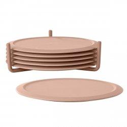 ZONE Denmark SIMPLY Silikonowe Podkładki pod Szklanki na Stojaku - Nude (Różowe)